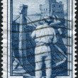 Stock Photo: Stamp printed in Italy, shows Shipbuilding, in background Rapallo Castle (Liguria), circ1950