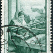 A stamp printed in Italy, is shown Weaving, in the background coast Bagnara Calabra (Calabria), circa 1950 — Stock Photo