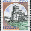 A stamp printed in Italy, shows the Castle of San Zeno, circa 1980 — Photo