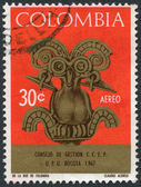 A stamp printed in the Columbia, is depicted Bird pectoral, circa 1967 — Stock Photo