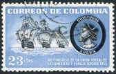 A stamp printed in the Columbia, is depicted Caravels and Columbus, circa 1955 — Stock Photo