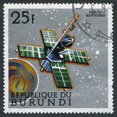 A stamp printed in the Burundi, is devoted to the Mariner flight to Mars, circa 1968 — Stock Photo
