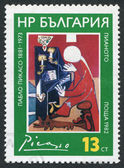 """A stamp printed in Bulgaria shows image of the """"Piano"""" of Pablo Picaso, circa 1982 — Stock Photo"""