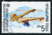 A stamp printed in the Bulgaria, devoted to the European championship in water sports, swimming, circa 1985 — Stock Photo