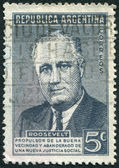 A stamp printed in the Argentina, dedicated to the anniversary of the death of U.S. President Flanklin Delano Roosevelt, circa 1946 — Stock Photo