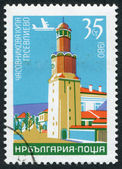 A stamp printed in the Bulgaria, shows a clock tower in the town of Sevlievo, circa 1980 — Stock Photo