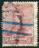 A stamp printed in the Argentina, shows a national hero, Jose de San Martin, circa 1916 — Stock Photo