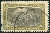 A stamp printed in the Argentina, shows the Meeting at Pena's Home, a picture painter Guillermo da Re, circa 1910 — Stock Photo