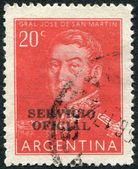 A stamp printed in the Argentina, shows a national hero, Jose de San Martin (overprint 1957), circa 1955 — Stock Photo