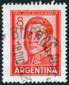 A stamp printed in the Argentina, shows a national hero, Jose de San Martin, circa 1965 — Stock Photo