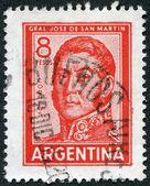 国民的英雄、jose de サンマーティン年頃 1965 年、アルゼンチンのスタンプ印刷を示しています — ストック写真