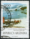 A stamp printed in the Argentina, shows the Almirante Brown Antarctic Base, circa 1977 — Stock Photo