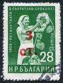 Un francobollo stampato in bulgaria, dedicato al periodo di cinque anni, raffigura una donna sul raccolto del girasole, intorno al 1959 — Foto Stock