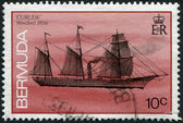 A stamp printed in Bermuda, is depicted commercial steamer Curlew (steamboat), circa 1986 — Stock Photo