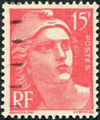 A stamp printed in France, depicts Marianne is a national emblem of France, circa 1949 — Stockfoto