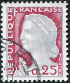 A stamp printed in France, depicts Marianne is a national emblem of France, circa 1960 — Stock Photo
