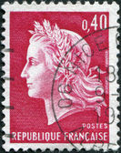 A stamp printed in France, depicts Marianne (by Cheffer) is a national emblem of France, circa 1969 — Stock Photo