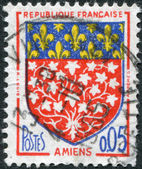 A stamp printed in France, depicts Arms of Amiens, circa 1962 — Stock Photo