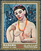"A stamp printed in the Manama, shows the picture of the artist Paula Modersohn-Becker, ""Self-Portrait"", circa 1971 — Stock Photo"