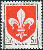 A stamp printed in France, depicts Arms of Lille, circa 1958 — Stock Photo