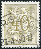 A stamp printed in Belgium, shows the Coat of Arms, Lion, circa 1951 — Stock Photo