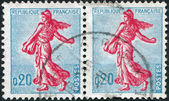 A stamp printed in France, depicts a sower, circa 1960 — Stock Photo