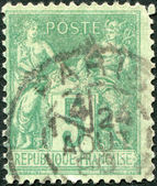 A stamp printed in France, shows an allegory of Peace and Commerce, circa 1876 — Stock Photo