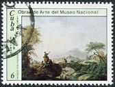 "A stamp printed in Cuba, is shown painting ""Landscape"" by Jean Piliment, circa 1978 — Stock Photo"