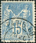 A stamp printed in France, shows an allegory of Peace and Commerce, circa 1892 — Stock Photo
