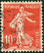 A stamp printed in France, depicts a sower, circa 1906 — Stock Photo