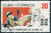 A stamp printed in Cuba, is dedicated to Pan American Games in Colombia, shows Baseball, circa 1971 — Stock Photo