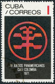 A stamp printed in Cuba, is dedicated to Pan American Games in Colombia, shows the emblem game, circa 1971 — Stock Photo