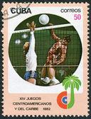 Küba'da bir damga basılmış orta amerika ve karayipler oyunları, voleybol, 1982 dolaylarında ayrılmıştır — Stok fotoğraf