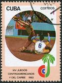 Un francobollo stampato a cuba, è dedicato a giochi centroamericani e caraibici, baseball, intorno al 1982 — Foto Stock