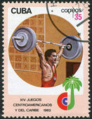 A stamp printed in Cuba, is devoted to Central American and Caribbean games, weightlifting, circa 1982 — Стоковое фото