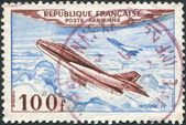 A stamp printed in France, shows a Jet Plane, Dassault Mystere IV, circa 1954 — Stock Photo