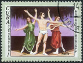 """A stamp printed in Cuba, dedicated to the International Ballet Festival, shows a scene from the ballet """"Apollo"""", circa 1976 — Foto de Stock"""