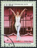 "A stamp printed in Cuba, dedicated to the International Ballet Festival, shows a scene from the ballet ""Oedipus the King"", circa 1976 — Stock Photo"