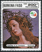 Un timbre imprimé au burkina faso, est consacré à l'exposition philatélique internationale, italie-85, montre une photo de botticelli — Photo