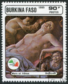 A stamp printed in the Burkina Faso, is devoted to the International Philatelic Exhibition Italia 85, shows a picture of Botticelli — 图库照片