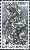 A stamp printed in France, shows the King Philip II (Philip Augustus) at Battle of Bouvines, circa 1967 — Stock Photo