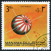 A stamp printed in the Manama, shows the first Italian satellite San Marco, circa 1968 — Stock Photo