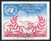 Postage stamps printed in Chile, shows a symbol of the UN and LAN Airlines, circa 1966 — Stock fotografie