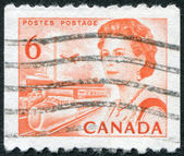 Postage stamps printed in Canada, depicts Transportation Means, circa 1968 — Stock Photo