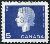 Postage stamps printed in Canada, depicts Queen Elizabeth II and thethe sign of wheat , circa1963 — Стоковое фото