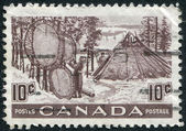 Postage stamps printed in Canada, depicts Indians Drying Skins on Stretchers, circa 1950 — Stock Photo
