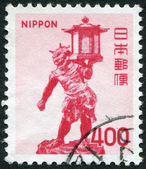 A stamp printed in Japan, depicts Tentoki Sculpture, in the golden pavilion Kofuku-ji, 11th Century, circa 1974 — Stock Photo