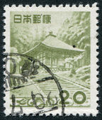 A stamp printed in Japan, depicts Golden Hall, Chusonji, circa 1954 — Stock Photo