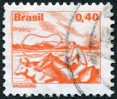 Sellos impresos en brasil, muestra a un pastor, circa 1977 — Foto de Stock