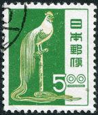 A stamp printed in Japan, depicts a bird Tosa Onagadori (Long-Tailed Cock), circa 1951 — Stock Photo